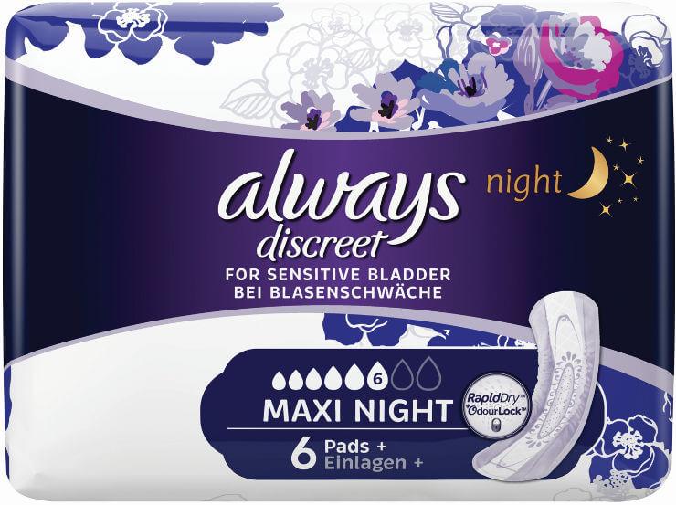 Always | אולוויז דיסקריט תחבושות לבריחת שתן לילה * מקסי נייט * - 6 יחידות תמונה של