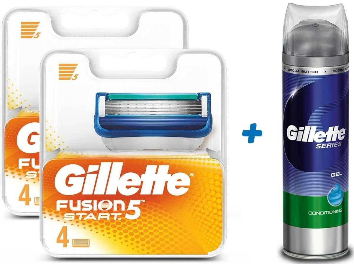 גילט פיוז'ן 5 - סכין גילוח רב פעמי - 8 סכינים + ג'ילט ג'ל גילוח לעור רגישתמונה של