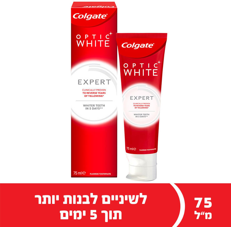 קולגייט משחת שיניים אופטיק וויט EXPERT WHITEתמונה של