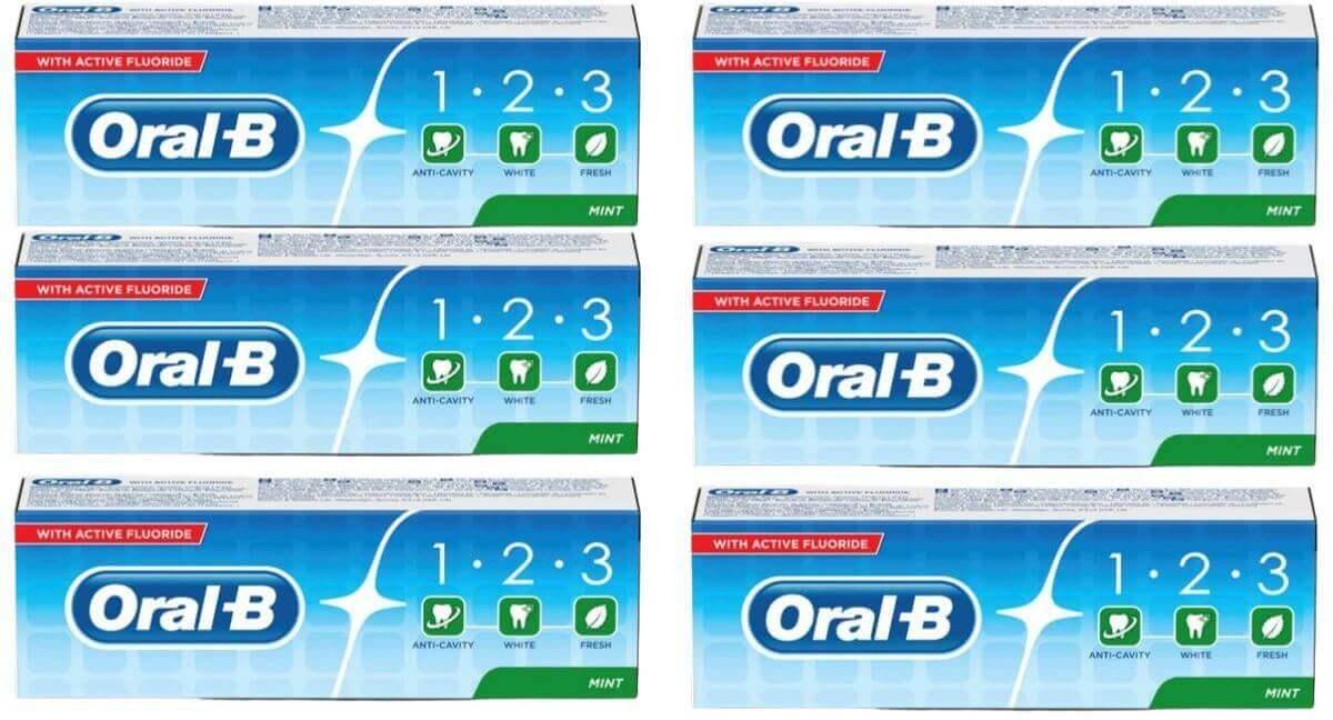 מארז 6 יחידות- אורל בי 123 משחת שיניים מרעננת עם פלואוריד - 100 MLתמונה של
