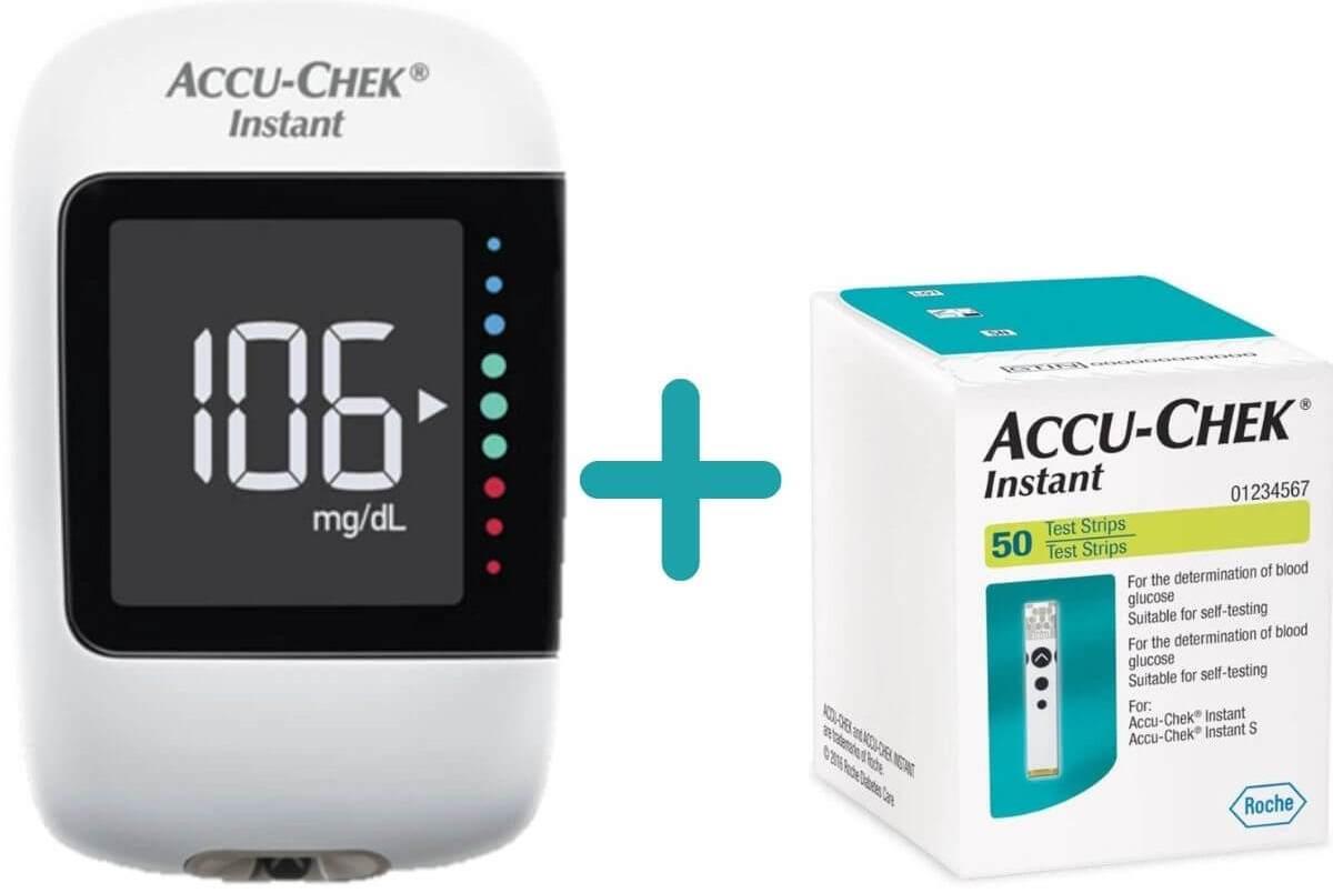 באנדל מד סוכר Accu-Chek Instant עם 50 מקלוני בדיקהתמונה של