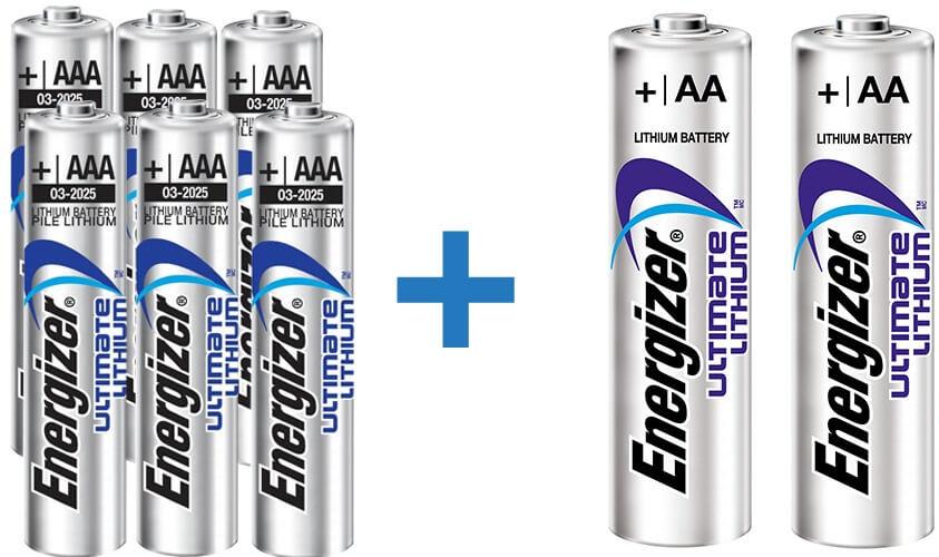מארז 8 סוללות ליתיום אנרג'ייזר | 2 AA ו -6 AAAתמונה של