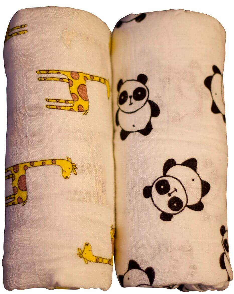 זוג חיתולי טטרה במבוק גדולים במיוחד באריזת מתנה - עיצוב ג'ירפה ופנדה | NEVO תמונה של