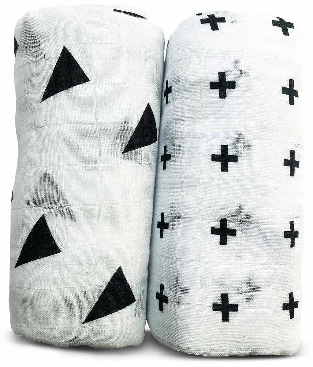 NEVO | זוג חיתולי טטרה במבוק גדולים במיוחד באריזת מתנה - עיצוב שחור ולבןתמונה של