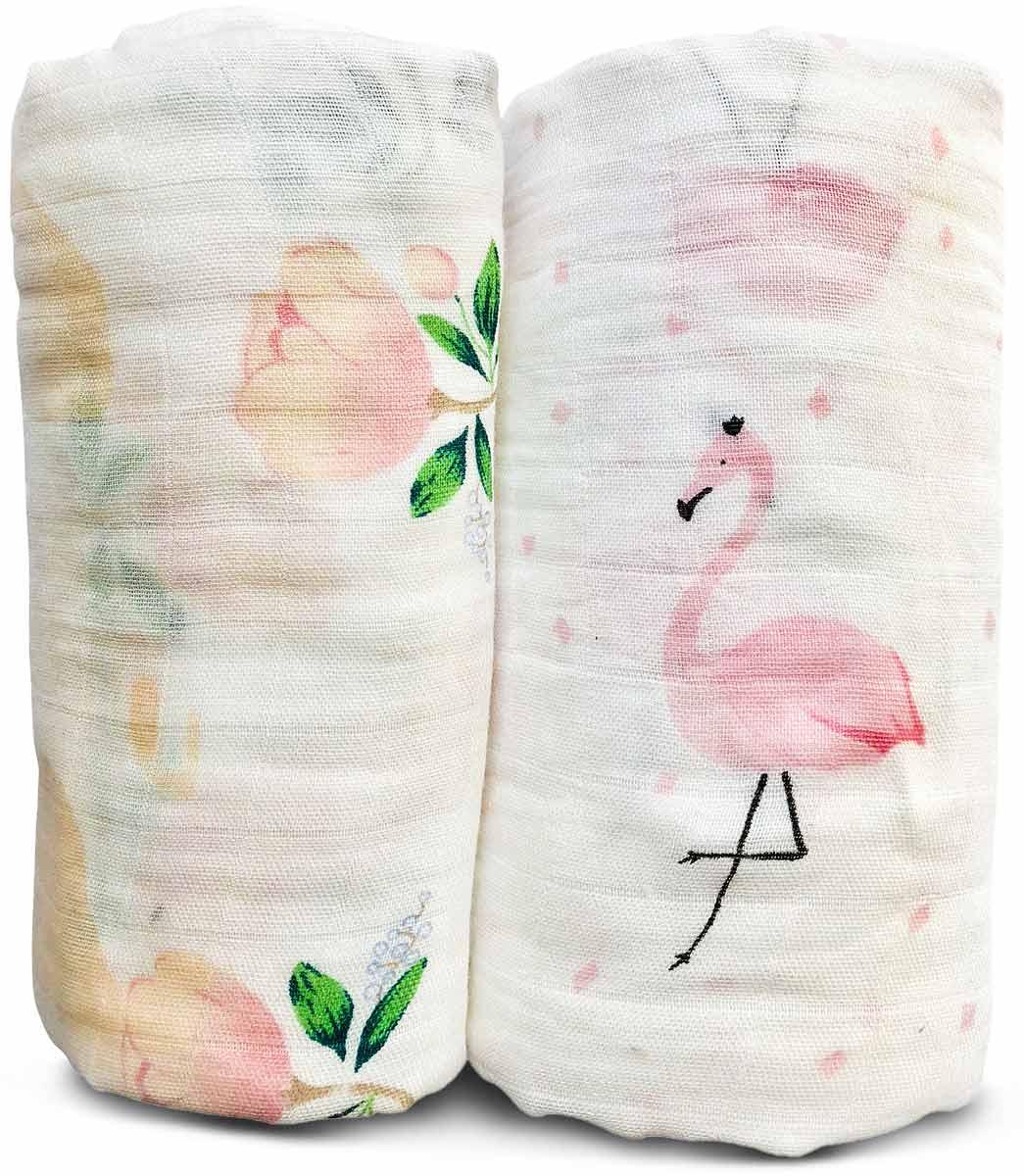 NEVO   זוג חיתולי טטרה במבוק גדולים במיוחד באריזת מתנה - עיצוב פלמינגו ופרחיםתמונה של