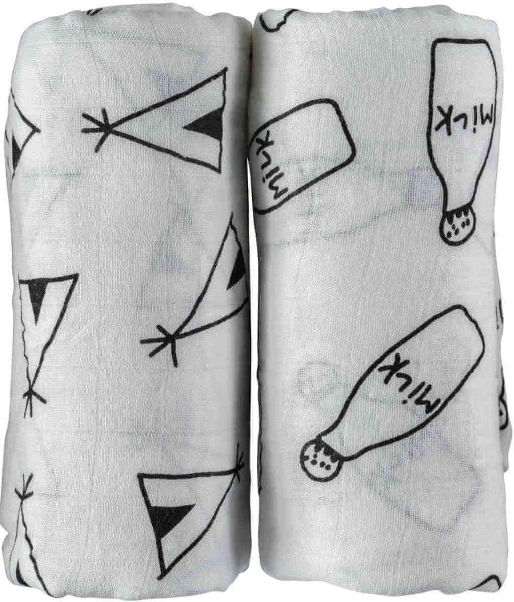 NEVO זוג חיתולי טטרה במבוק גדולים במיוחד באריזת מתנה - עיצוב שחור ולבןתמונה של