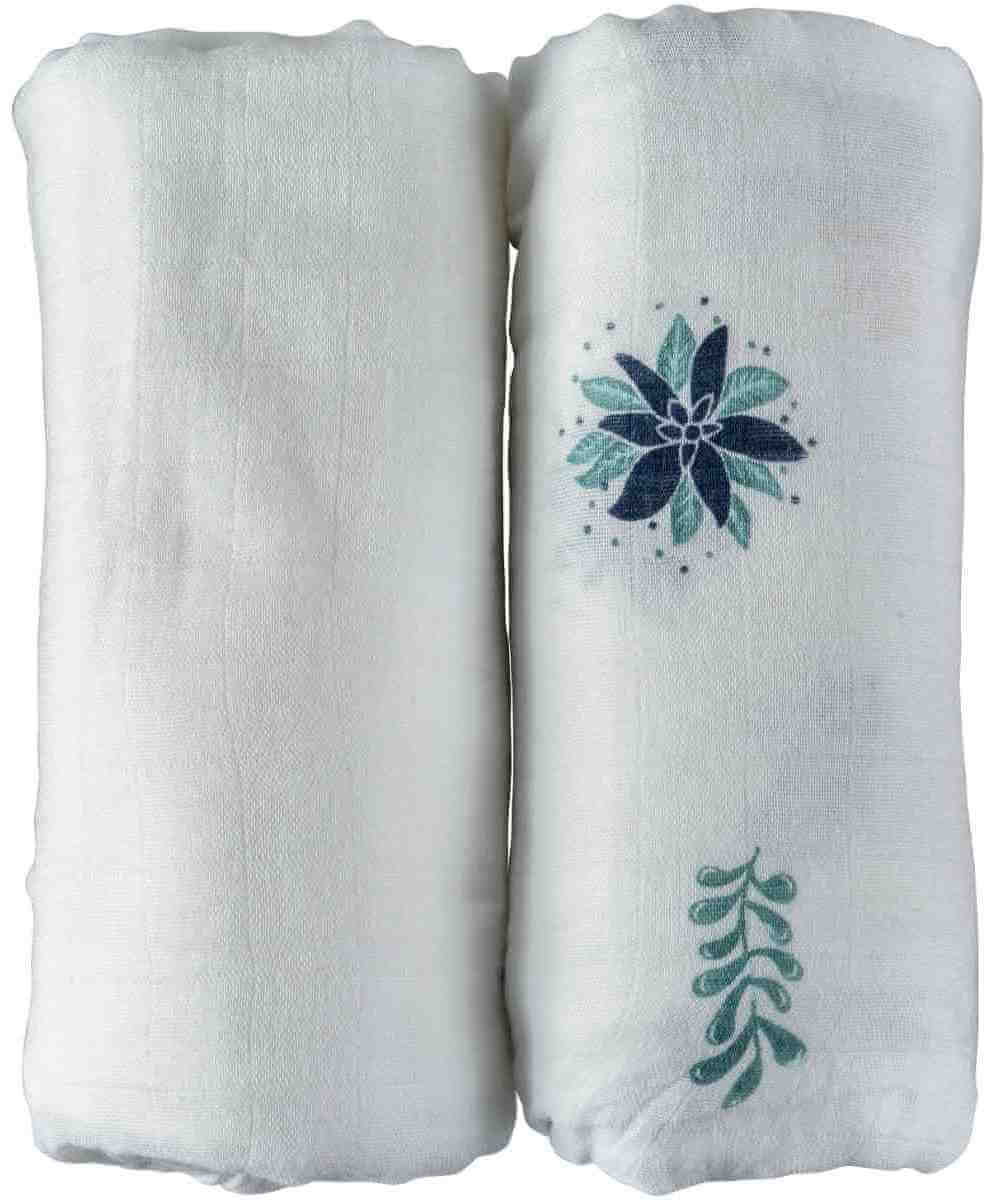 NEVO   זוג חיתולי טטרה במבוק גדולים במיוחד באריזת מתנה - עיצוב לבן וקקטוסיםתמונה של