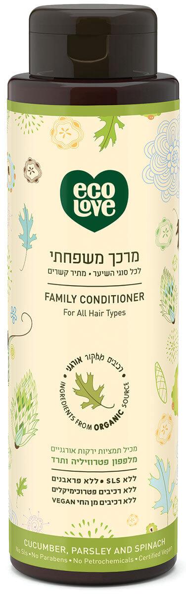 אקו לאב | מרכך משפחתי מתיר קשרים - לכל סוגי השיער, ירקות ירוקים - 500 מל ecoloveתמונה של
