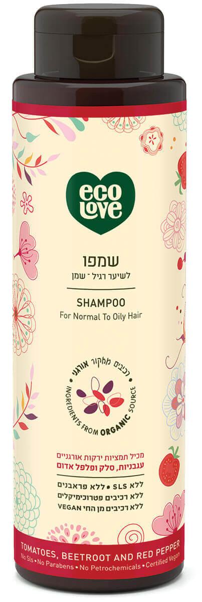 אקו לאב | שמפו לשיער רגיל – שמן, ירקות אדומים - 500 מל ecoloveתמונה של