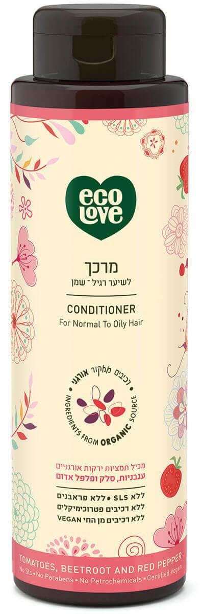 אקו לאב | מרכך לשיער רגיל – שמן, ירקות אדומים - 500 מל ecoloveתמונה של