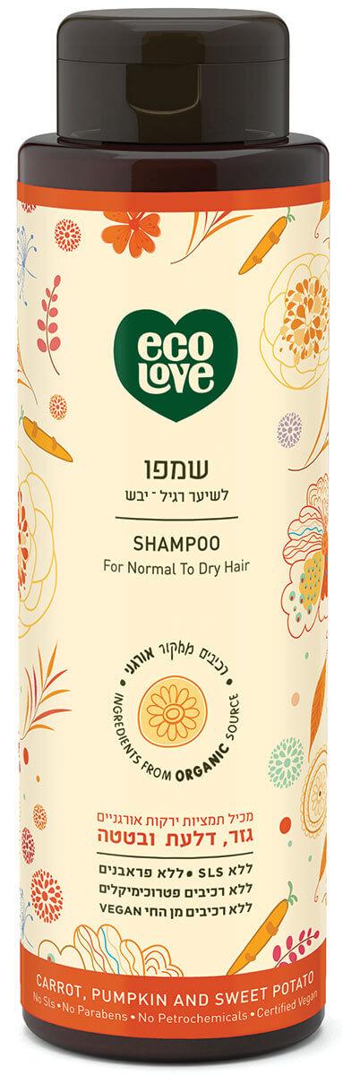 אקו לאב | שמפו לשיער רגיל – יבש, ירקות כתומים - 500 מל ecoloveתמונה של