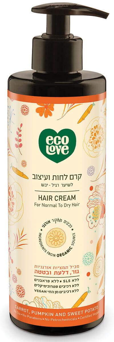 אקו לאב קרם לחות ועיצוב לשיער רגיל-יבש, ירקות כתומים - 400 מל ecoloveתמונה של