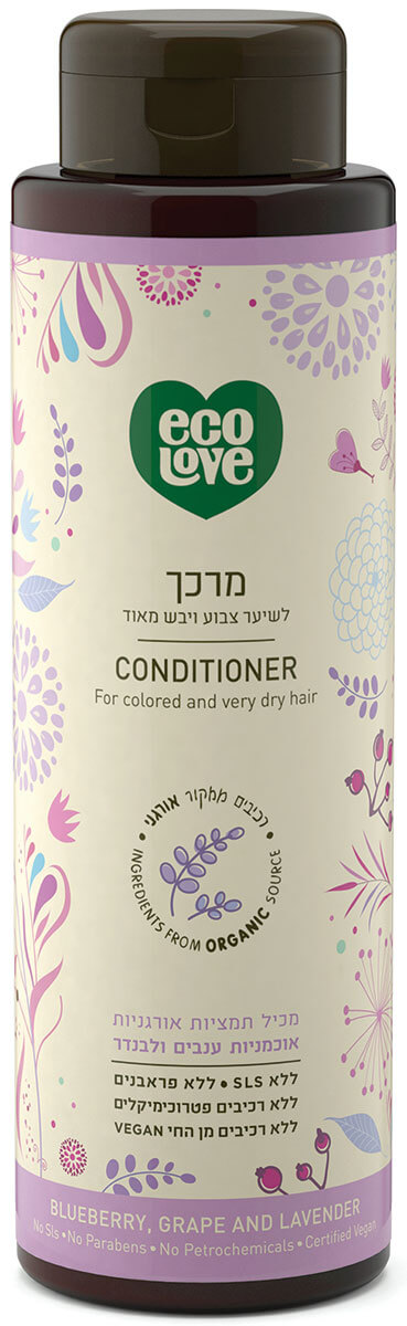 אקו לאב | מרכך לשיער- צבוע ויבש מאוד פירות סגולים - 500 מל ecoloveתמונה של