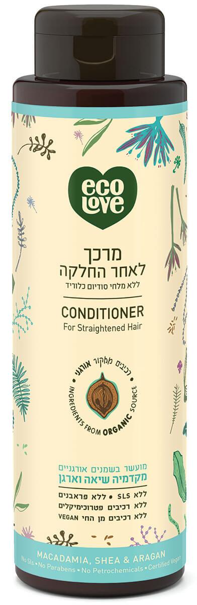 אקו לאב | מרכך לשיער שעבר החלקה, ללא מלחים - 500 מל ecoloveתמונה של