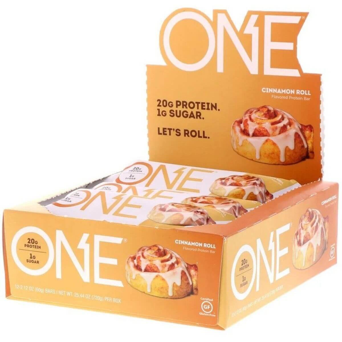 וואן חטיף חלבון בטעם מאפה קינמון, משקל 60 ג' ללא גלוטן- מארז 12 חטיפיםתמונה של